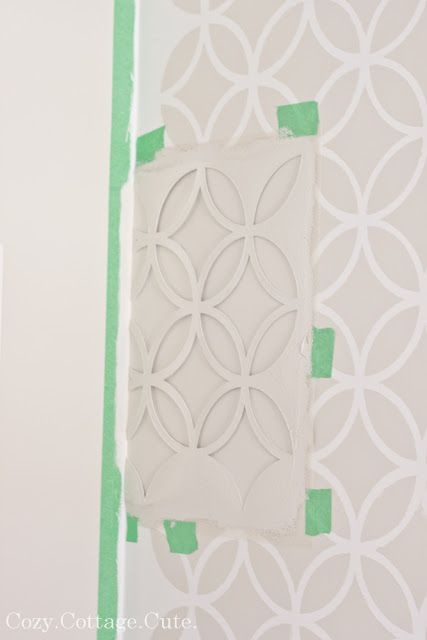 Cozy.Cottage.Cute.: Stenciled Wall - Before and After