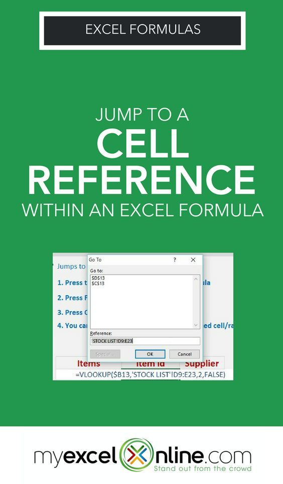 Excel Cell Reference Excel Pinterest Microsoft excel
