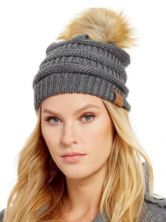 C.C. Knit Beanie Hat with Fur Pom Pom-Gray with fleece lining ... 30e72a0ef5a