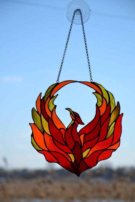 Phoenix Stained glass window hangings Suncatcher Firebird Fairy Fire Bird Gift Kids Baby Friend her daughter Nursery Room Stainglass Cling