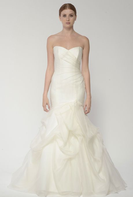 Brides: Bliss by Monique Lhuillier. Silk white organza gown with sweetheart neckline and hand tufted trumpet skirt.  More Details From Bliss by Monique Lhuillier