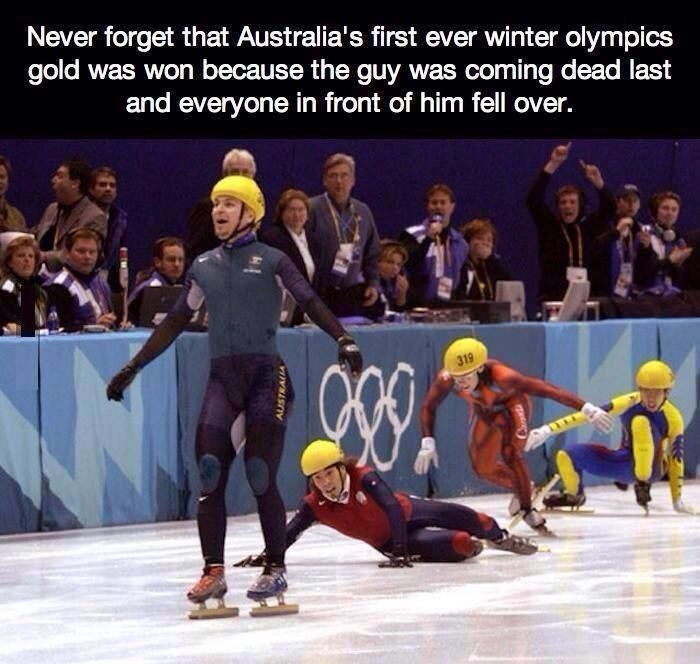 "Aussies call this ""Doing a Bradbury"". Steven Bradbury = Aussie legend."