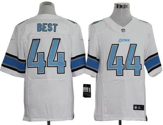Nike Lions #44 Jahvid Best White Mens NFL Elite Jersey