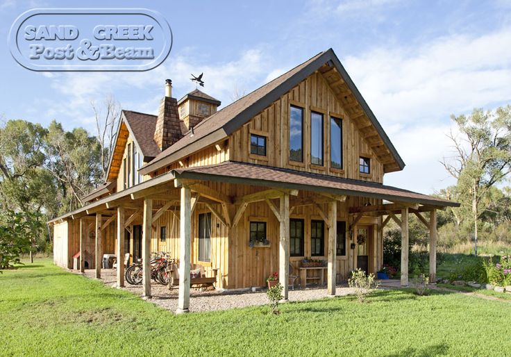Barn home with open wrap around porch pole barn homes for Barn with porch