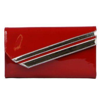 Via Metallic Design Clutch Wallet Purse Crossbody Convertible, Red, One Size VIA. $19.00