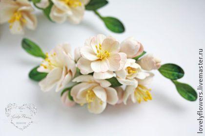 Цветы персика в прическу - цветы ручной работы,цветы из полимерной глины