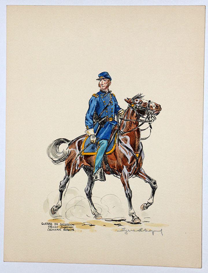 Guerre de Secession Sudiste Eugene Leliepvre. Union cavalry officer.