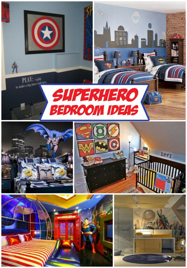 A collection of Superhero bedroom ideas by Design Dazzle--Love the bottom left one if I was rich!! hahha