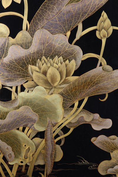 artemisdreaming:  Detail of a panel screen from YunguanglouZitan, lacquer, jade, and gold paintEach panel 84 x 28 x 2 ½ inches (213 x 58.7 x 6 cm)Palace Museum, Beijing