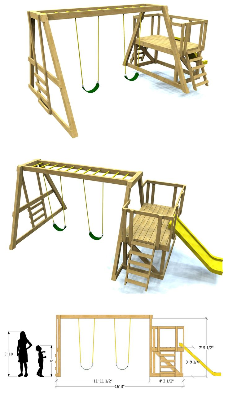 Build your own swing-set with Paul's Swing-set plan! Free Download.