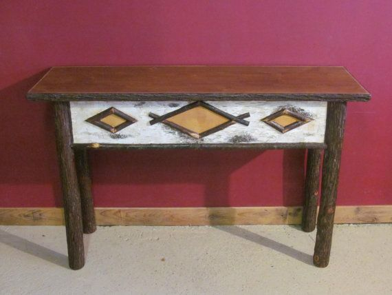 HICKORY LOG SOFA Table   Old Fashioned Hickory Sofa Table   Adirondack  Style Sofa Table