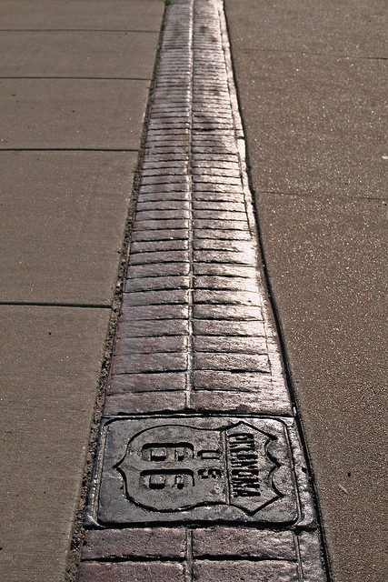 Route 66 Inlay Along Historic Route 66 in Tulsa, this brick inlay has been added to the sidewalks down 11th Street.