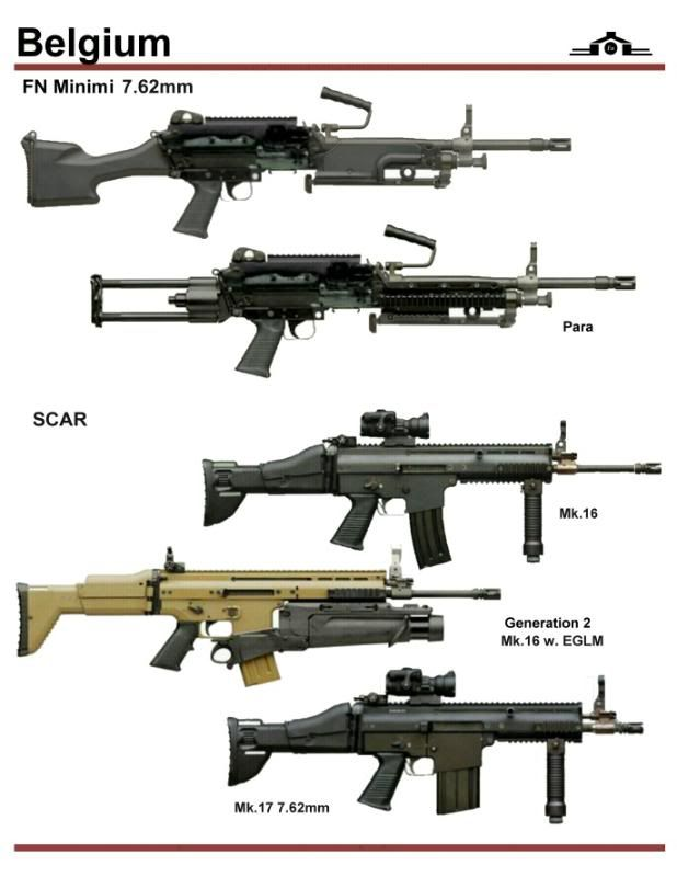 Based upon colors, the three SCARs on the bottom, including the EGLM grenade launcher, may be prototypes or other non-final versions.