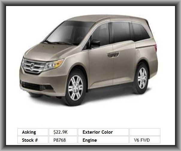 2011 Honda Odyssey LX Mini-Van  Two 12V Dc Power Outlets, Fold Forward Seatback Rear Seats, Fuel Consumption: Highway: 27 Mpg, Plastic/Rubber Shift Knob Trim, Rear Leg Room: 40.9, 4 Door, Type Of Tires: As, 2Nd And 3Rd Row Head Airbags, Tire Pressure Monitoring System, Dual Illuminated Vanity Mirrors, Wheel Diameter: 17, Am/Fm Stereo, Bucket Front Seats, Fuel Consumption: City: 18 Mpg, 3Rd Row Hip Room: 48.4, Tires: Profile: 65, Cupholders: Front And Rear,