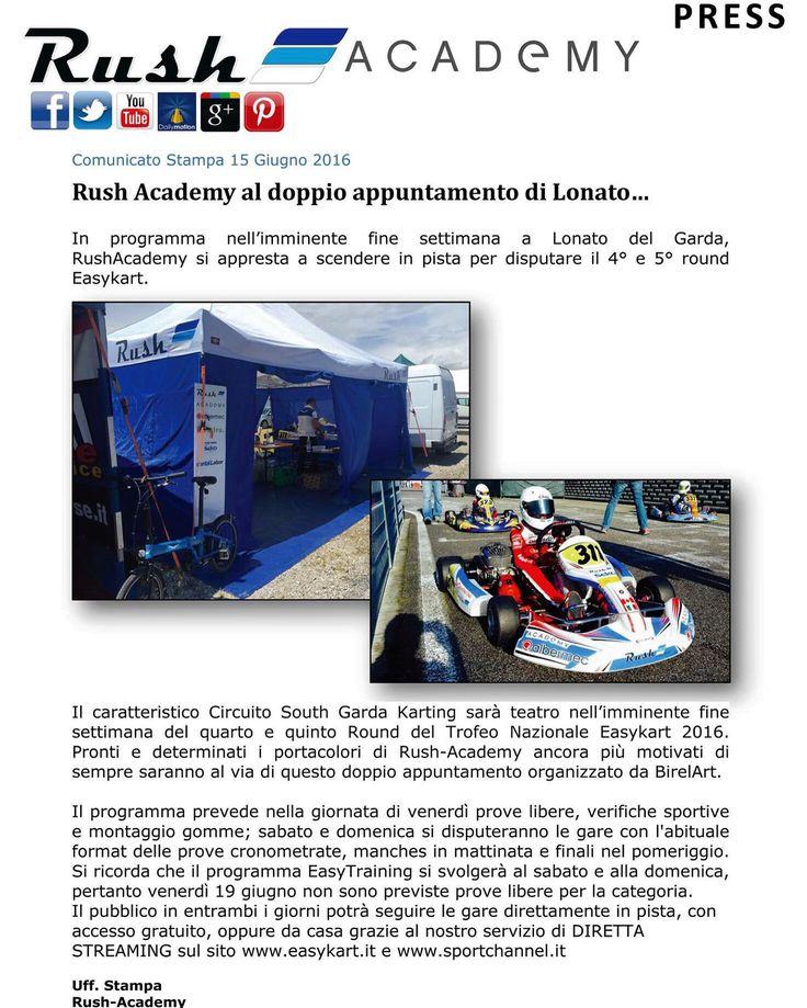 Rush Academy al doppio appuntamento di Lonato…  In programma nell'imminente fine settimana a Lonato del Garda, RushAcademy si appresta a scendere in pista per disputare il 4° e 5° round Easykart.