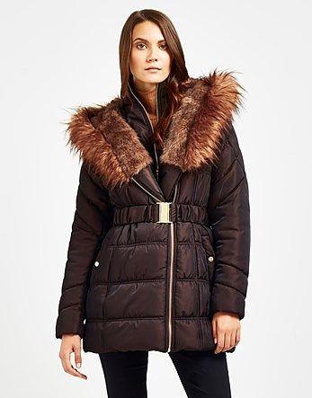 Womens dark brown puffa jacket from Lipsy - £90 at ClothingByColour.com