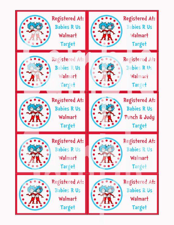 Seuss Thing 1 U0026 2 Baby Shower Printable Registry Cards