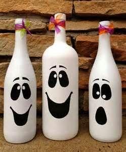 Painted White Wine bottles for Halloween