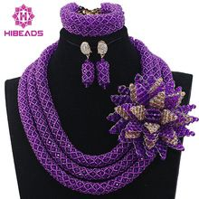 Lujo Púrpura Collar Grueso de Nigeria Perlas Africanas de La Boda Joyería Africana Fija el Oro Plateado 2017 Nuevo Envío Libre HX570(China (Mainland))