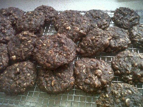 Chocolate, coconut, hazelnut cookies
