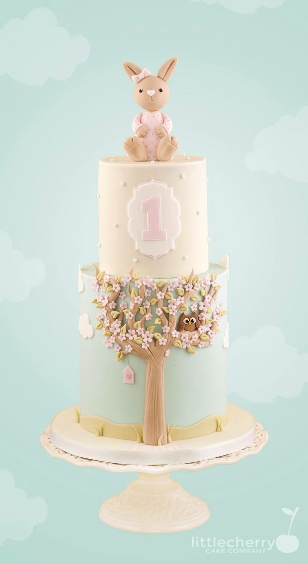 1st Birthday Baby Bunny Cake by Little Cherry Cake Company