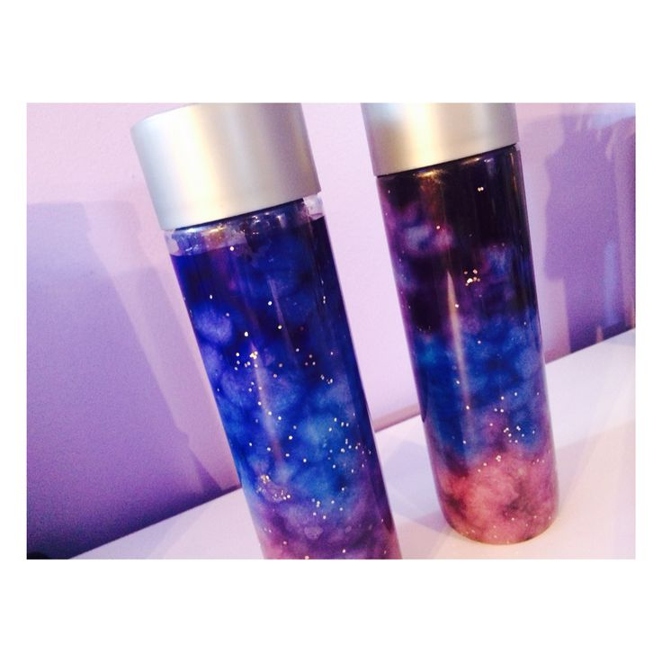 Galaxy in a Jar: add water, food coloring, glitter, and cotton!