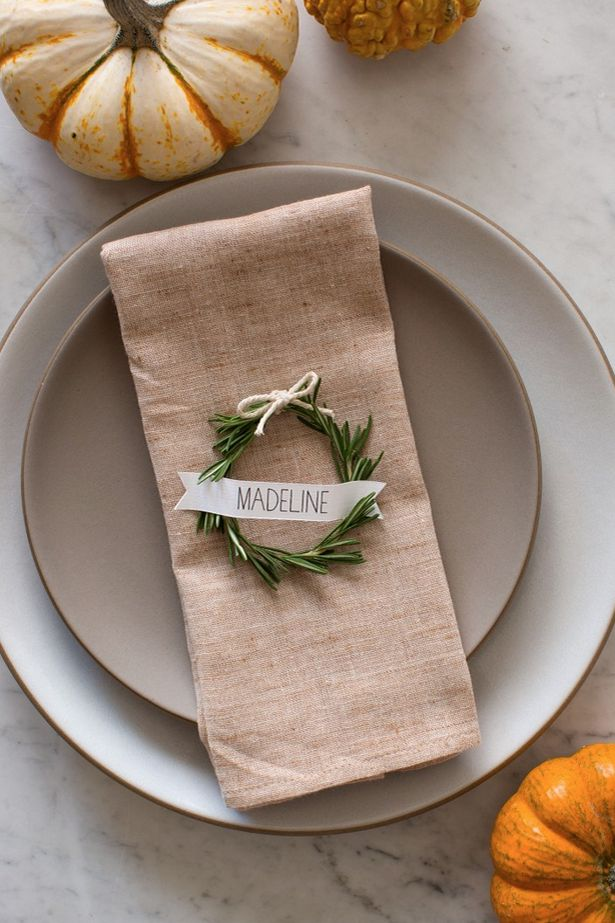 These rosemary wreaths are a great way to be resourceful with the things you have already laying around the house. Thanksgiving dinner will be complete with these adorable place cards.