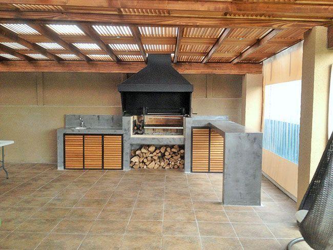 Quinchos modernos con revestimiento microcemento parrilla y horno exterior pinterest b squeda - Tipos de revestimientos exteriores ...