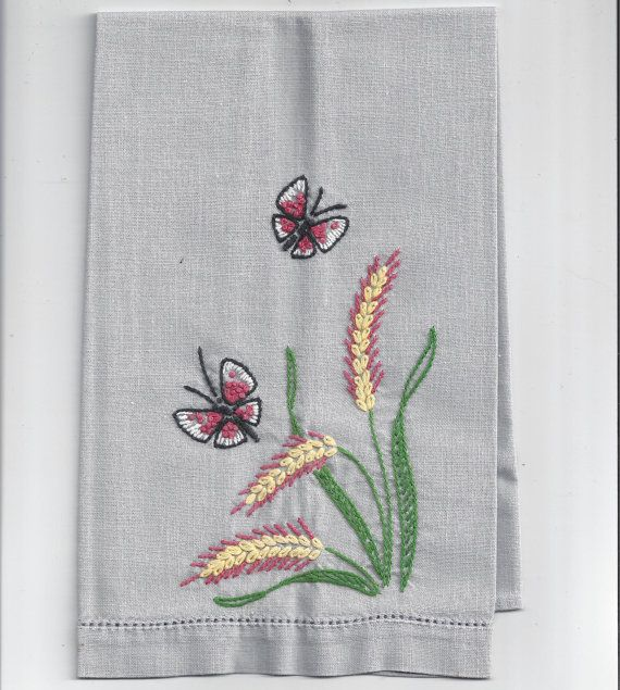 Vintage 1960s Linen Guest Towel in Gray with Butterfly and Floral Hand Embroidery and Cut Work Border