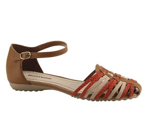 Sandália rasteira rústica com tiras | Sandálias | Bottero Calçados
