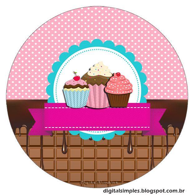 Festa de Aniversário Cupcake para imprimir gratuito, com convite, rótulo caçulinha, rótulo de chocolate Bis, caixinhas para imprimir da festa Cupcake.
