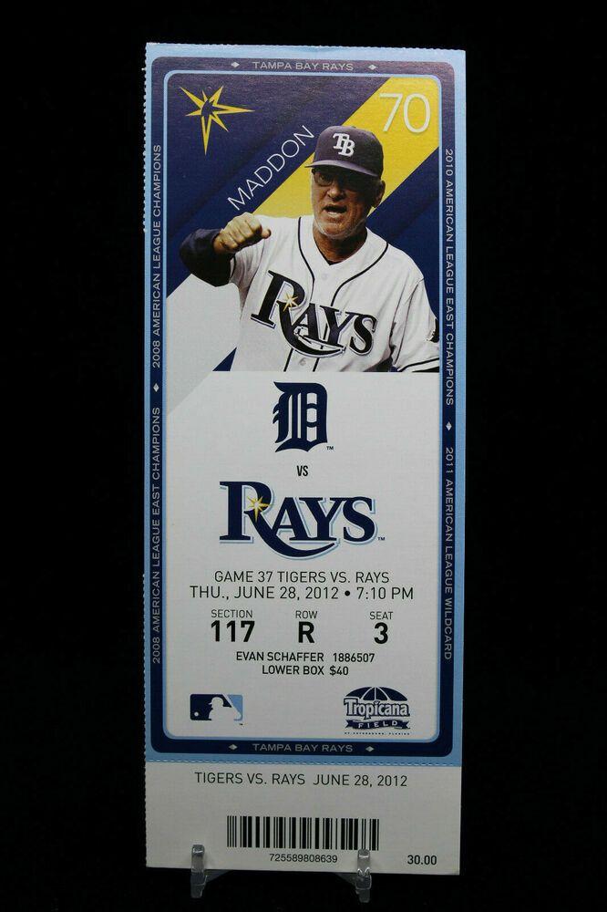 Detroit Tigers Vs Tampa Rays Game 37 Mlb Ticket W Stub 06 28 2012 Maddon Mlb Tickets Tampa Mlb