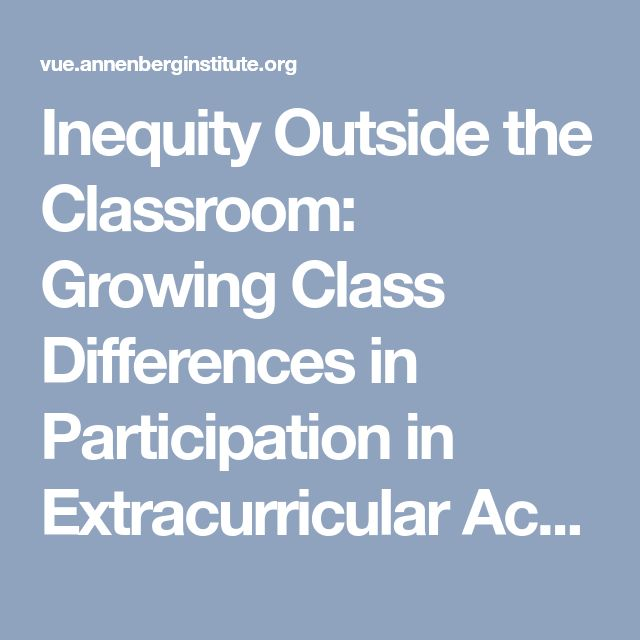 Inequity Outside the Classroom: Growing Class Differences in Participation in Extracurricular Activities | Voices in Urban Education