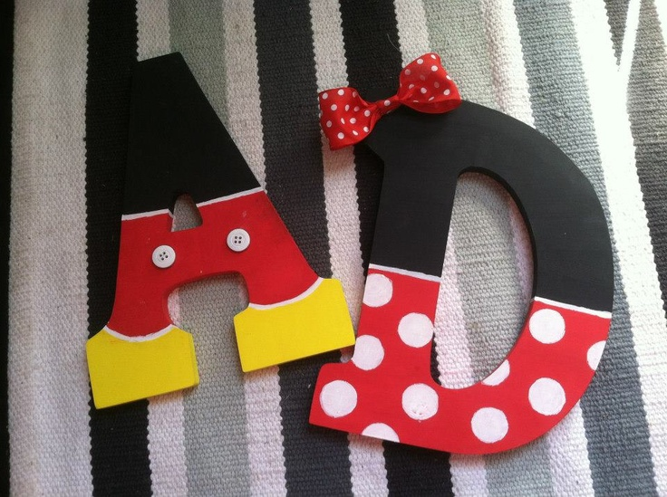 Mickey and Minnie painted letters