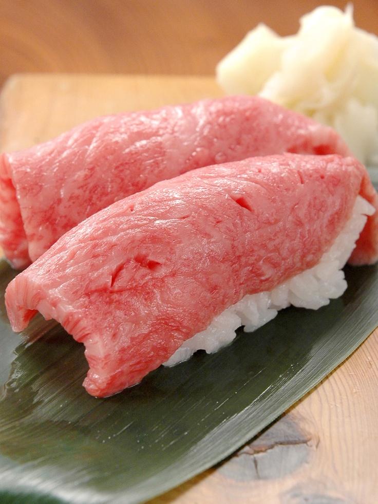 Wagyu Beef Nigiri Sushi at Kitaya (Tokyo, Japan) 特選和牛トロにぎり