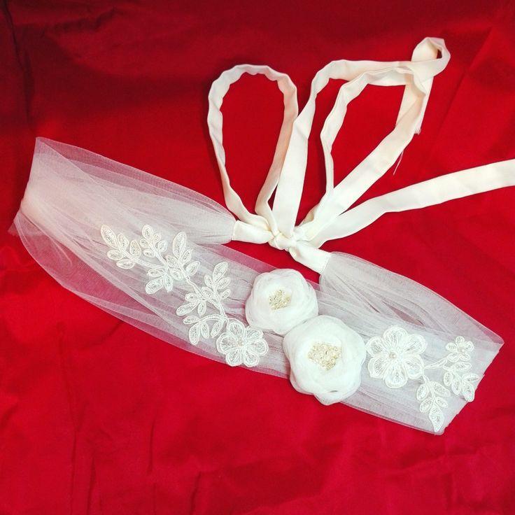 Bridal Sash, Tulle and Lace Wedding Belt, Ivory Flowers on Tulle Sash by AnaManoleAtelier on Etsy