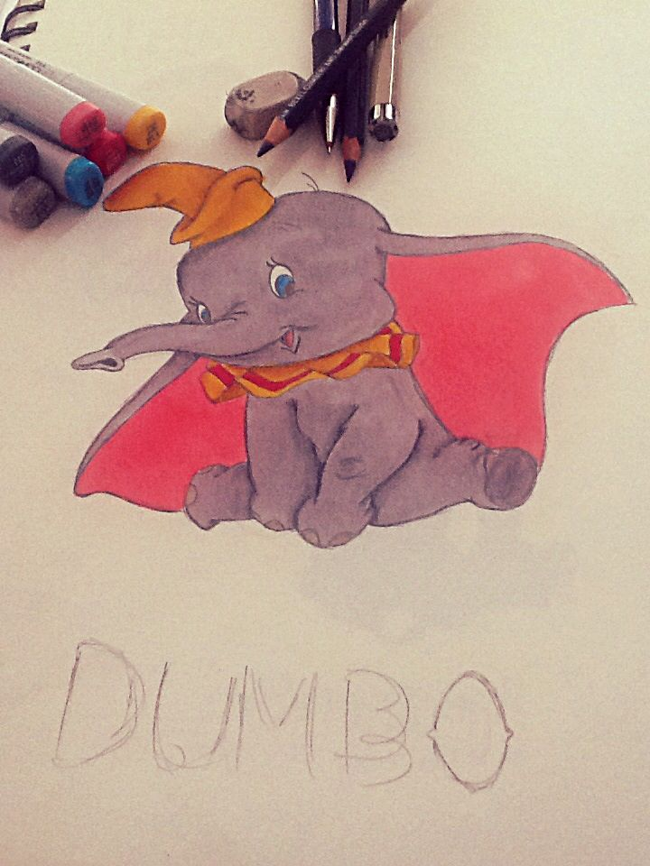 "Drawing by Emma Rock. ""Disney's Dumbo"" leave suggestions for drawings to be posted in the comments!"