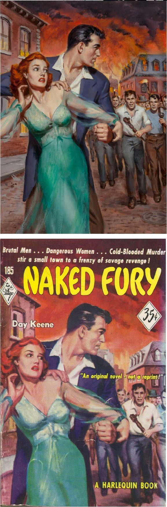 UNKNOWN - Naked Fury by Day Keene - 1952 Harlequin Romance #185 - items by pulpcovers