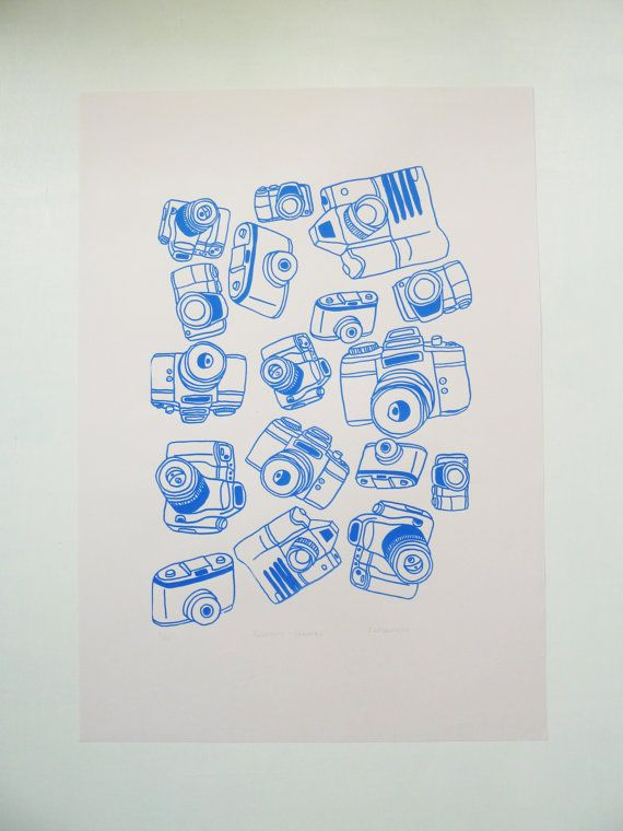 This A2 Camera Typology Screenprint is designed and printed by Rachel Ali Hawkins.  Featuring a wonderful variety of cameras this print was inspired by a love of collecting objects.