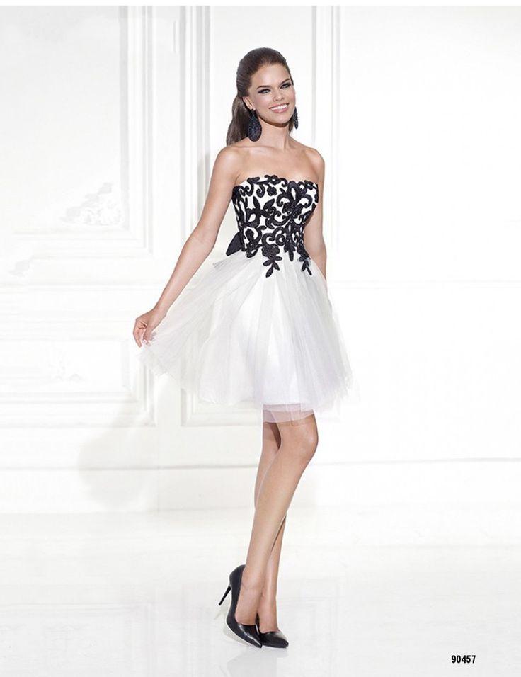 New Arrival Homecoming Dresses Strapless Neckline Black Lace Appliques White Color Short Mini Cocktail Dresses 2015 Tarik Ediz