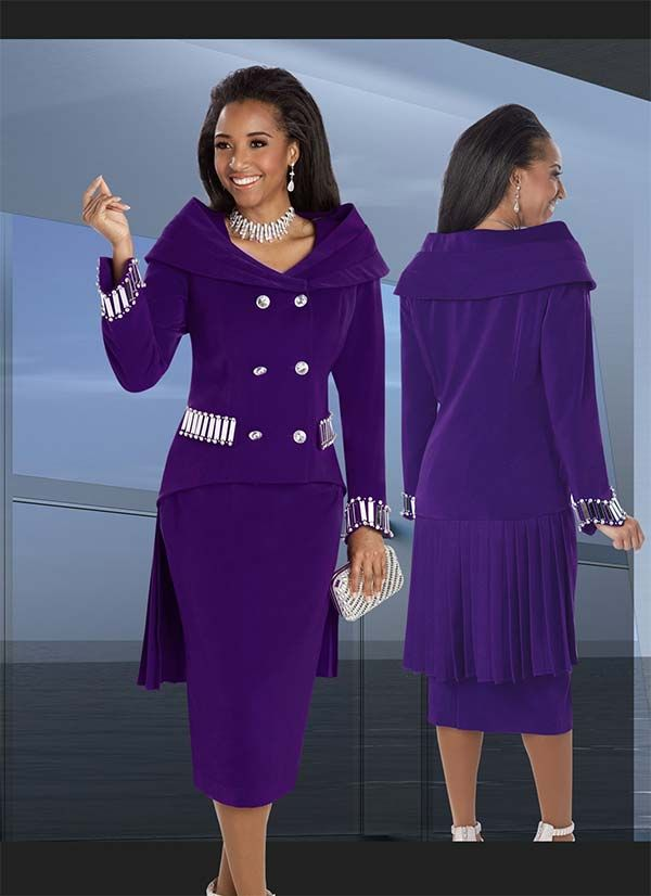 Donna Vinci 11573 Mirror Embellished Womens Suit With Portrait Collar & Pleated Back Jacket