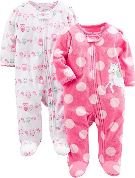 b3795dfe7f03 Amazon.com  Simple Joys by Carter s Girls  2-Pack Fleece Footed ...