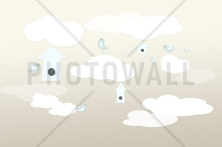 Birds Up High - Beige Blue - Tapetit / tapetti - Photowall