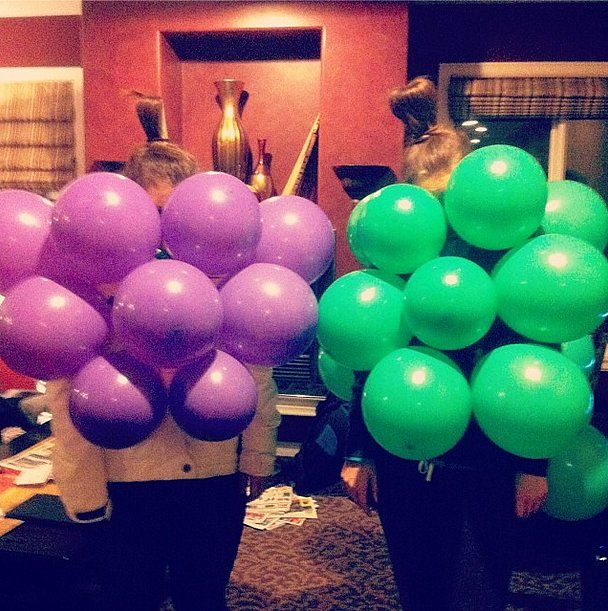 The sweetest couple there is. What you need to do: Blow up some green and purple balloons. Attach them to your shirt with tape, or string them together by the ends then tie them around your body.  Source: Instagram user mikaelabates