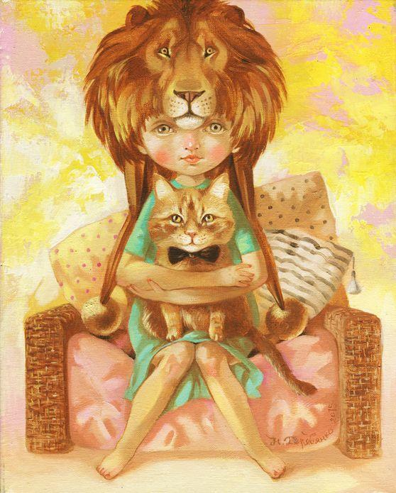 Лев или Большие кошки - художница Наталья Деревянко