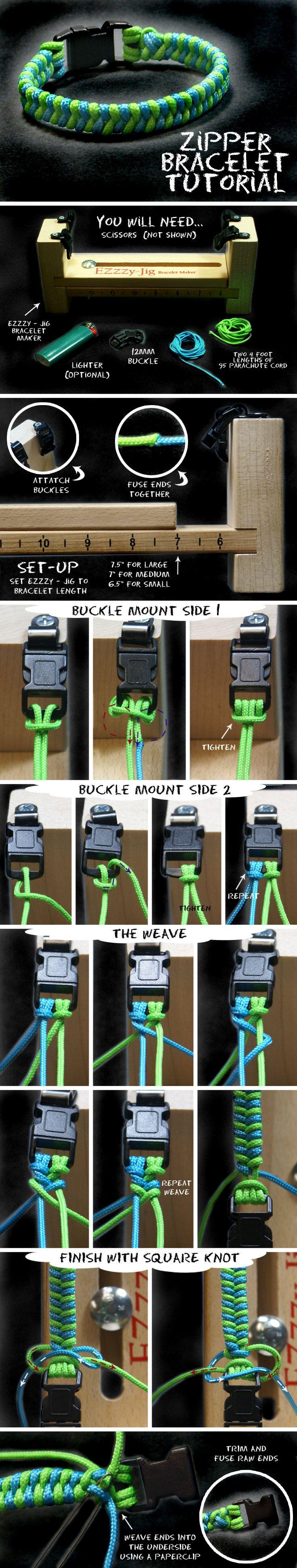 DIY Paracord Zipper Bracelet Jewelry
