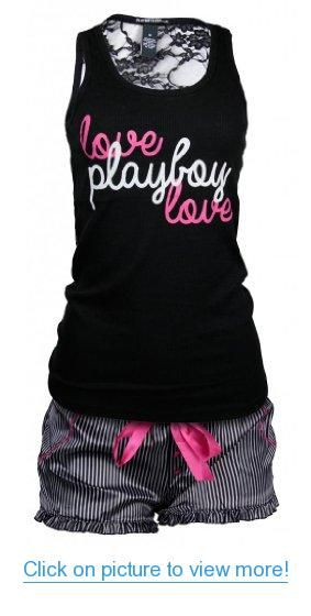Playboy Womens 2 pcs Lounge Pajama Shorts with Lace Backed Printed Tank Top