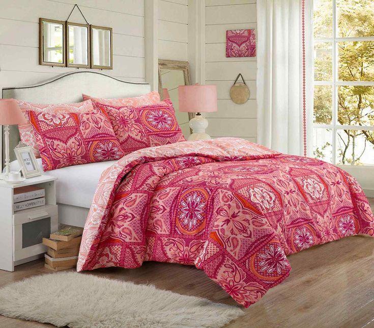 Patchwork Mandala Coral Duvet Quilt Bedding Set – Linen and Bedding