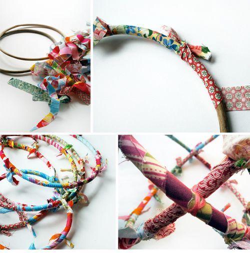 rattan cane hoops, fabric scraps http://smallmagazine.typepad.com/smaller/2009/05/small-projects-summer-tweets.html