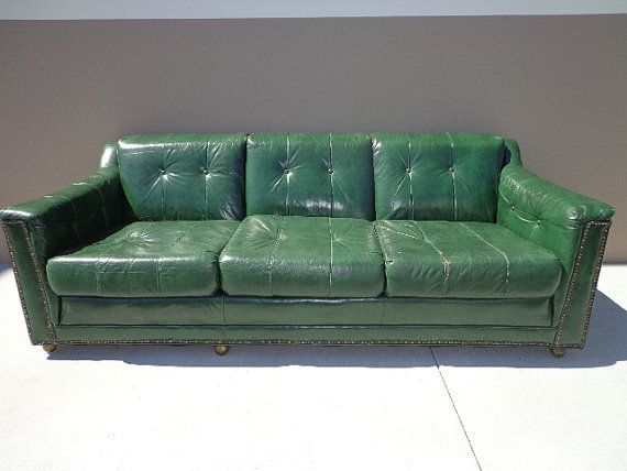 Vintage Green Leather Sofa Couch Brass Tacks By DejaVuDecors